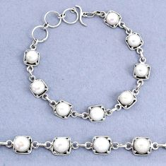 19.25cts tennis natural white pearl 925 sterling silver bracelet jewelry t8413