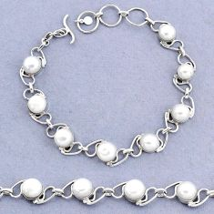 19.62cts tennis natural white pearl 925 sterling silver bracelet jewelry t8433