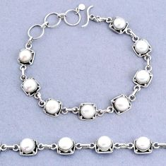 19.02cts tennis natural white pearl 925 sterling silver bracelet jewelry t8454