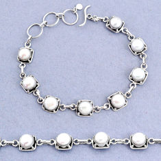19.97cts tennis natural white pearl 925 sterling silver bracelet jewelry t8455
