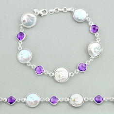 29.34cts tennis natural white pearl amethyst 925 sterling silver bracelet t37261