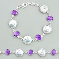 29.90cts tennis natural white pearl amethyst 925 sterling silver bracelet t37262