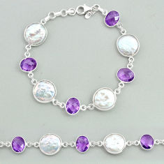 29.34cts tennis natural white pearl amethyst 925 sterling silver bracelet t37264