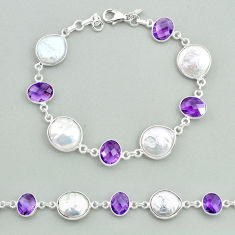 29.34cts tennis natural white pearl amethyst 925 sterling silver bracelet t37266