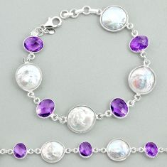 29.90cts tennis natural white pearl amethyst 925 sterling silver bracelet t37282