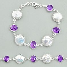 29.34cts tennis natural white pearl amethyst 925 sterling silver bracelet t37283
