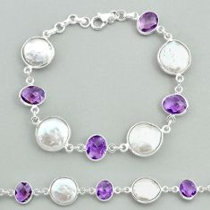 30.44cts tennis natural white pearl amethyst 925 sterling silver bracelet t37302