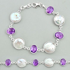 28.81cts tennis natural white pearl amethyst 925 sterling silver bracelet t37307
