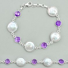 27.08cts tennis natural white pearl amethyst 925 sterling silver bracelet t37312