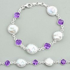 25.28cts tennis natural white pearl amethyst 925 sterling silver bracelet t37313