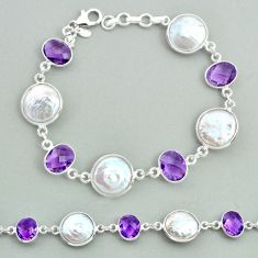 29.32cts tennis natural white pearl amethyst 925 sterling silver bracelet t37315