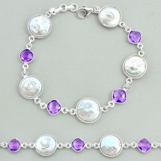 30.44cts tennis natural white pearl amethyst 925 sterling silver bracelet t37317