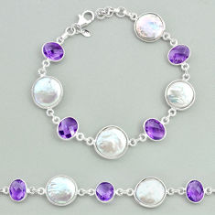 29.34cts tennis natural white pearl amethyst 925 sterling silver bracelet t37318