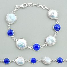 29.34cts tennis natural white pearl blue lapis lazuli 925 silver bracelet t37293