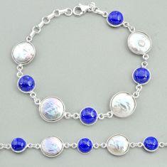 32.73cts tennis natural white pearl blue lapis lazuli 925 silver bracelet t37297