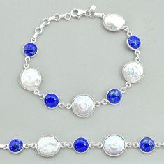 32.14cts tennis natural white pearl blue lapis lazuli 925 silver bracelet t37299