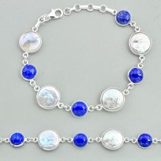 31.53cts tennis natural white pearl lapis lazuli 925 silver bracelet t37298