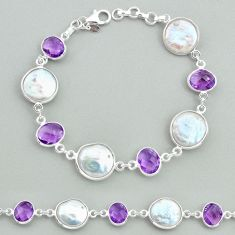 29.90cts tennis natural white pearl purple amethyst 925 silver bracelet t37305