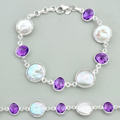 28.08cts tennis natural white pearl purple amethyst 925 silver bracelet t37311