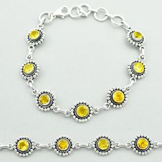6.31cts tennis natural yellow citrine 925 sterling silver bracelet t52080
