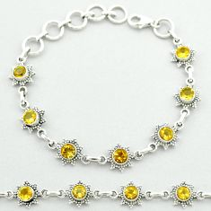 6.16cts tennis natural yellow citrine round 925 sterling silver bracelet t52143