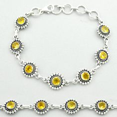 6.43cts tennis natural yellow citrine round 925 sterling silver bracelet t52174
