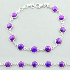17.91cts tennis purple copper turquoise 925 sterling silver bracelet t40281