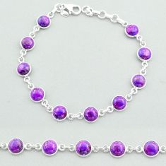 18.95cts tennis purple copper turquoise 925 sterling silver bracelet t40282
