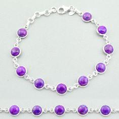 18.95cts tennis purple copper turquoise 925 sterling silver bracelet t40285