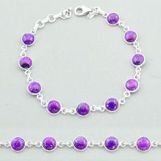 17.78cts tennis purple copper turquoise 925 sterling silver bracelet t40287