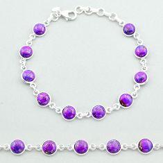 17.84cts tennis purple copper turquoise 925 sterling silver bracelet t40288