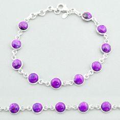 18.28cts tennis purple copper turquoise 925 sterling silver bracelet t40290