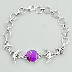 6.64cts tennis purple copper turquoise 925 sterling silver moon bracelet t38821