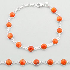 19.42cts tennis red copper turquoise 925 sterling silver bracelet jewelry t40311