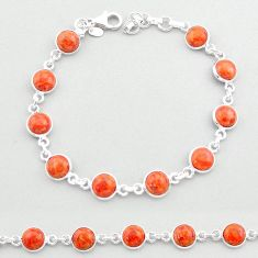 19.45cts tennis red copper turquoise 925 sterling silver bracelet jewelry t40313
