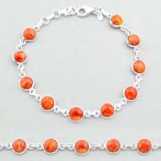19.45cts tennis red copper turquoise 925 sterling silver bracelet jewelry t40314