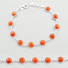 19.45cts tennis red copper turquoise 925 sterling silver bracelet jewelry t40316