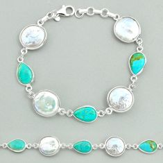 26.54cts tennis white pearl arizona mohave turquoise 925 silver bracelet t37294