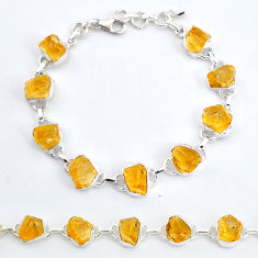 35.77cts tennis yellow citrine raw 925 sterling silver bracelet jewelry t6641
