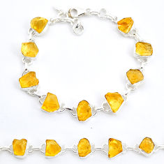 34.52cts tennis yellow citrine raw 925 sterling silver bracelet jewelry t6642