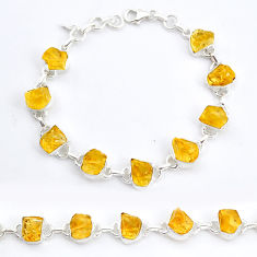 36.72cts tennis yellow citrine raw 925 sterling silver bracelet jewelry t6643