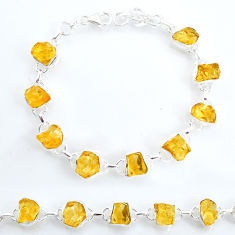 35.27cts tennis yellow citrine raw 925 sterling silver bracelet jewelry t6645