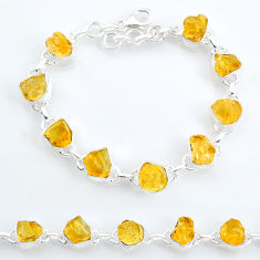 34.03cts tennis yellow citrine raw 925 sterling silver bracelet jewelry t6646