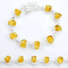 32.32cts tennis yellow citrine raw 925 sterling silver bracelet jewelry t6648