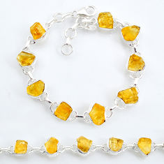 33.04cts tennis yellow citrine raw 925 sterling silver bracelet jewelry t6649