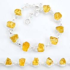 37.44cts tennis yellow citrine raw 925 sterling silver bracelet jewelry t6650