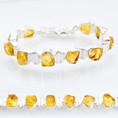 41.56cts tennis yellow citrine raw 925 sterling silver bracelet jewelry t6661