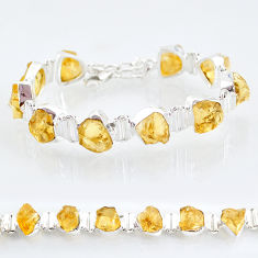 44.07cts tennis yellow citrine raw 925 sterling silver bracelet jewelry t6662