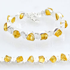 41.07cts tennis yellow citrine raw 925 sterling silver bracelet jewelry t6663