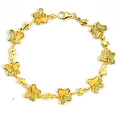 6.74cts white australian opal (lab) 925 silver 14k gold bracelet a62031 c15487